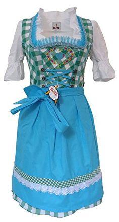 Blitz Dirndl 3 tlg. Trachtenkleid Kleid, Bluse, Schürze, ca. 90cm Größe : 34 bis 42 (36, Grün&Weiß&Türkis) Blitz Dirndl http://www.amazon.de/dp/B00ZLT2R38/ref=cm_sw_r_pi_dp_eKx7vb1YHRDWA
