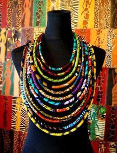 """CéWax, Créations textiles et bijoux ethniques en wax, tissu africain. Pièces uniques et fabriquées à la main en France http://cewax.alittlemarket.com Retrouvez toutes les sélections ethno tendance de CéWax sur le blog : https://cewax.wordpress.com - Collier wax """"massaï 7en1"""" -12 rangs-"""