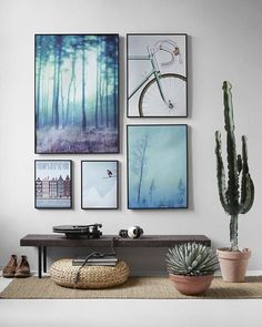 A way to rearrange different photos on a wall