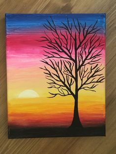 cardmaking inspiration: Acrylic Painting Idea For Beginners from Brighter Craft .... would be great with lines of bright watercolor with dark silhouette tree stamped on top ...