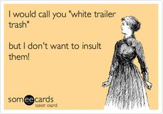 I would call you 'white trailer trash' but I don't want to insult them!
