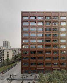 David Chipperfield's Moganshan Road office building features an all-copper facade.