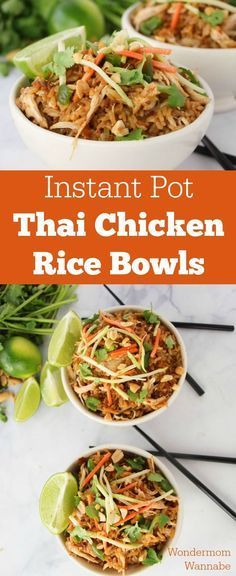 This is one of my all-time favorite Instant Pot recipes! These Thai Chicken Rice… This is one of my all-time favorite Instant Pot recipes! These Thai Chicken Rice Bowls are so flavorful and loaded with spicy goodness! Instant Pot Pressure Cooker, Pressure Cooker Recipes, Pressure Cooking, Chicken Rice Bowls, Veggie Rice Bowl, Rice Soup, Chicken Tacos, Crack Chicken, Cooking Recipes