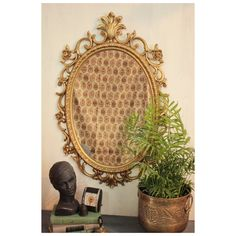 large wall mirror - gold oval framed mirror - ornate mid century mirror - Hollywood Regency style mirror by ninedoorsvintage on Etsy