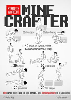 Minecrafter Strength Workout. She has tons of visual graphic posters with superhero themes too! Makes it fun!