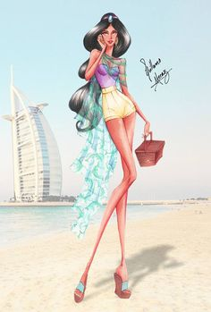 Disney Princess Summer Collection 2015 by Guillermo Meraz - Jasmine Disney Princess Fashion, Disney Princess Art, Disney Fan Art, Disney Style, Disney Love, Disney Fashion, Moda Disney, Arte Disney, Fashion Model Sketch