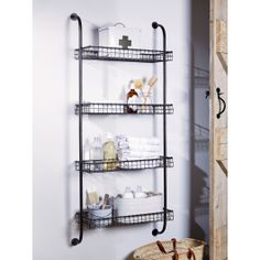 With industrial inspired pipe fixings supporting four wire shelves, our large metal storage unit is made from iron with a dark distressed finish. The depth of each shelf makes them perfect for storing jars, bottle and boxes; whether used as pictured in the bathroom or filled with condiments, coffee and herbs and spices in the kitchen.