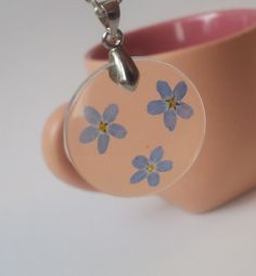 Real Forget-Me-Not Flowers Necklace Round crystal by SimpleJC
