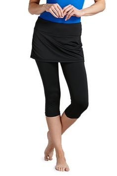 Want leg coverage but not sold on our tights? Our Shorebreak Skirted Swim Capris have a contoured athletic fit and ruche skirt top sure to flatter your figure. Made of our Aqua Classic™ fabric that's quick to dry and chlorine/salt resistant, this c Shorts With Tights, Leggings, Uv Swimwear, Sun Protective Clothing, Tennis Clothes, Tennis Outfits, Swim Skirt, Golf Outfit, Vintage Shirts