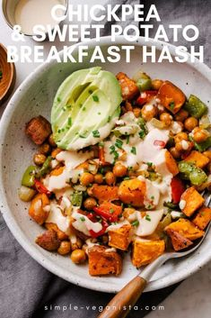 Chickpea and Sweet Potato Breakfast Hash. Solid And Nutritious, This Potato Breakfast Hash With Bell Peppers, Onions And Minimal Spices Makes A Delicious Vegan Breakfast Or Brunch Meal Idea. Extraordinary For Lunch And Dinner Too. Breakfast Appetizers, Breakfast And Brunch, Vegan Breakfast Recipes, Vegetarian Recipes, Breakfast Ideas, Nutritious Breakfast, Healthy Breakfasts, Healthy Vegetarian Breakfast, Protein Breakfast