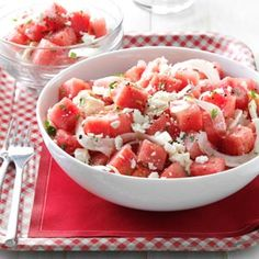 Favorite Summer Melon Recipes - Take fresh summer melons beyond basic fruit salad with these recipes for watermelon salsa, pie and jelly; cantaloupe chicken salad, sorbet and ice pops; and honeydew drinks, grilled kabobs and more melon recipes. Watermelon Salad Recipes, Melon Recipes, Watermelon Salsa, Summer Salad Recipes, Fruit Recipes, Summer Salads, Fruit Salads, Cucumber Salad, Food Salad