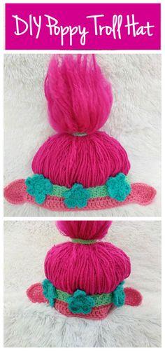 DIY Poppy Troll hat crochet pattern. PDF instant download #DIY #crochet #trolls