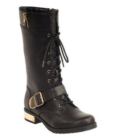Black Liz Boot by Modern Rush #zulily #zulilyfinds. $47.99 reg $110. I love these!  This color reminds me of boots I had in high school...ahhh