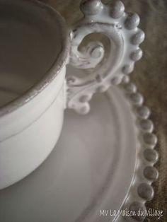 Pretty cup and saucer  - Amazing detail.  WOULD LOVE THIS! FROM: Plaisirs - MV La Maison ... jp_astier_de_villatte_boutique_011