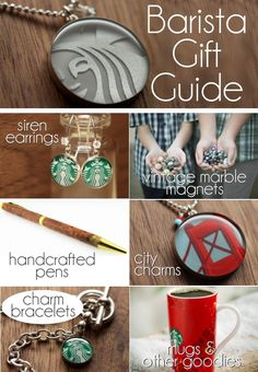 Barista Gift Guide - jewelry, vintage marble magnets, handcrafted pens...all sorts of great goodies for your favorite coffee house person!