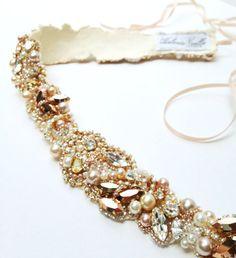 Rose Gold Crystal Bridal Belt Custom Bridal by HelenaNoelleCouture
