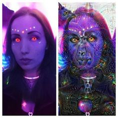 Före och efter deep dream :-P  #deepdream #psycadelic #freaky #uvcolor #uvfreak #uv #raver #glowsticks #lenses #alien #psytrance #uvmakeup #ravemakeup #rave #ravergirl #piercing #raveready by sugarbomb5