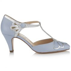 T-Bar Wedding Shoe | Gardenia Powder Blue | Rachel Simpson Shoes