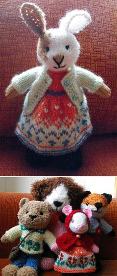 Free Knitting Patterns for Little Animal Toys - This pattern includes instructions for knitting a variety of animals including bunny, fox, dog, cat, mouse, and bear from a basic pattern with modifications, and their clothes (shoes, dress, pants and cardigan). Designed by Irene Kiss. Available in English and Spanish