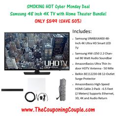 ***SMOKIN HOT Samsung 48 inch 4K TV Home Theater Bundle ~ HUGE SAVINGS!**** If you have been waiting for the best deal on a NEW HD TV this is it ONLY $599! LOWEST PRICE AVAILABLE! This is NOT just the TV but sound bar, cables, Surge Protector and HDTV Antenna! Click the link below to get all of the details about the deal ► http://www.thecouponingcouple.com/samsung-48-inch-4k-tv-home-theater-bundle/  HURRY THIS ONE WILL SELL OUT! DEAL IS GOOD TODAY ONLY OR UNTIL SOLD OUT