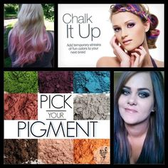 Use #Younique pigments for hair chalk!  Add a small amount of #Younique primer to the area you want to chalk.  Use forefinger and thumb to slide pigment from root to end.  Once you get the desired look, Set it with hairspray! www.youniqueproducts.com/mindyobrien