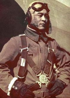 Ens. Saburo Sakai (1916-2000) One of Japan's leading fighter Aces. He was an enlisted naval aviator; flew the advanced A6M Zero, and saw combat over China, 1938-1941. He took part in the attack on the Philippines, and the first Japanese pilot to shoot down an AAF B17 Flying Fortress. He scored 64 aerial victories, and was the highest scoring Japanese fighter ace to survive the war.