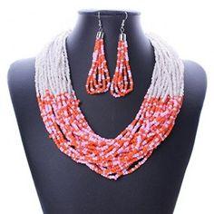 SuperBaby Frauen Bohemian mehrere Zeilen Kleine Perlen Choker Halsband Lätzchen baumeln Halskette Ohrringe