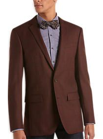 Egara Burgundy Plaid Slim Fit Sport Coat