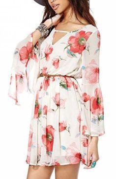 White Long Sleeve Floral Chiffon Dress