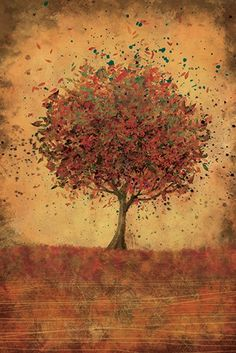 Autumn Tree Modern Wall Art  Welcome Change burnt by papermoth, $55.00  -  etsy, look at the other prints from this seller, different sizes.    lj