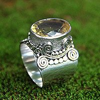 Majestic' - Sterling Silver and Faceted Citrine Cocktail Ring #boho #jewelry