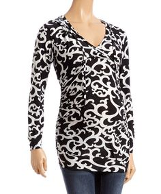 Black & White Scrollwork Ruched Maternity Hoodie - Plus Too   zulily
