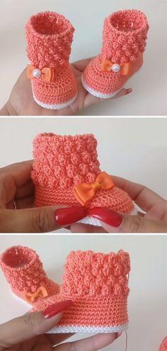 Crochet Bobble Booties - Everything you are looking Crochet Boots, Crochet Baby Booties, Crochet Slippers, Baby Patterns, Crochet Patterns, Crochet Bobble, Häkelanleitung Baby, Gestrickte Booties, Kids Slippers
