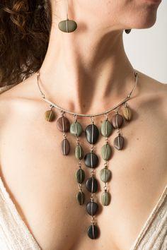 Rebecca Bashara stone necklace and earrings