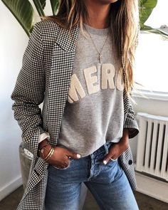 blazer over a sweatshirt