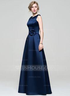 Vestidos princesa/ Formato A Decote redondo Longos Cetim Vestido de madrinha com fecho de correr (007074181)