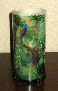 "Peacock Decorated & Hand Painted Flameless Pillar Candle 3""x6"". $18.50, via Etsy."