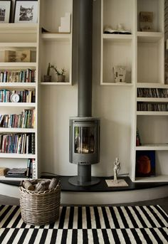 I like the contrast between the rug and the vertical fireplace with bookshelves on both sides.