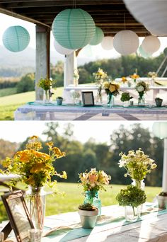 Charming, rustic outdoor wedding reception | Caitlin Sheffer Photography