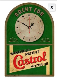 Castrol Motor Oil Clock/tin Vintage Tin Signs, Vintage Tins, Castrol Oil, American Gas, Firestone Tires, Pompe A Essence, Vintage Gas Pumps, Old Garage, Old Gas Stations