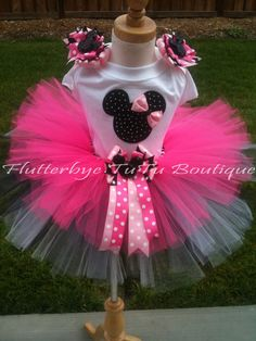 Miss Mouse TuTu Set in Pink Black and White by flutterbyetutu, $48.50