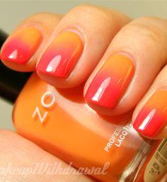 Orange and Pink Nail Art