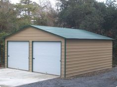Double a frame garage with vertical roof r b metal for 26 x 36 garage
