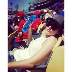 Emmy Rossum sporting the Gents Jersey Front cap at the Dodgers game.  #EmmyRossum #Gents #Gentsco #Fashion #Dodgers #Mlb2014