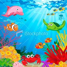 Underwater Scene with Sea Life Royalty Free Stock Vector Art Illustration