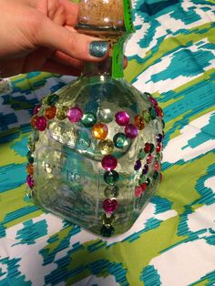Best Friend's 21st Birthday Idea Superglue sequins on her favorite alcoholic bottle (: