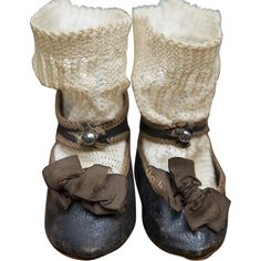 Antique French Original  signed Brown Leather Jumeau Bebe  Shoes size 8 and Matching Socks, c.1880