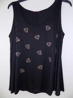 "NWT2X  Womens Diamond studded print Bust 44"" Stretchy Deep Black New with tags  #PlusMM #TankCami"