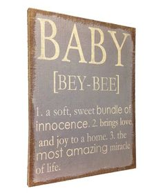 Love this Gray & Yellow 'Baby' Burlap Wall Plaque by Wilco on Yellow Nursery, Baby Yellow, Wall Plaques, Wall Signs, Burlap Wall, Brown And Grey, Gray, Baby Room Decor, Baby Rooms