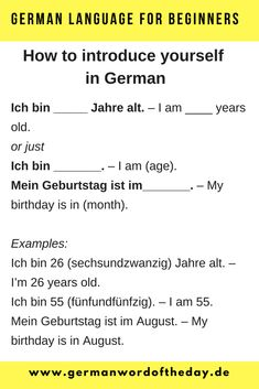 How to introduce yourself in German PDF - German Word Of The Day Basic German Phrases, German Words, English Phrases, Learning German, German Language Learning, Language Study, Worksheet For Class 2, Deutsch Language, Learning Languages Tips